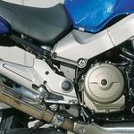 Nosilca aluminijastega okvirja se spajata z aluminijastim stebrom za motorjem, ki nosi tudi vilice. (foto: Mitja Gustinčič)