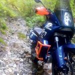 Dakar v modro-oranžni kombinaciji spominja na dirkalnik s tobačnim sponzorjem Gauloises. (foto: Matevž Hribar)