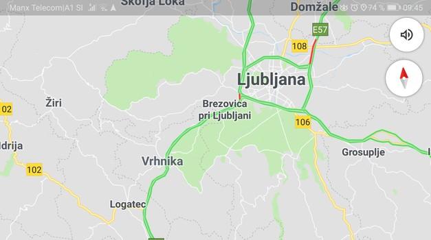 Google Maps po novem tudi s prikazom omejitev hitrosti in radarskih merilnikov (foto: Zajem zaslona)