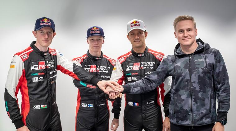 Od leve: Evans, Rovanpera, Ogeier in Lappi (foto: TGR)
